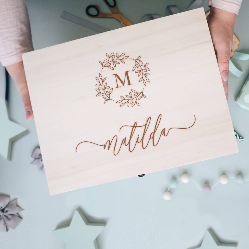 Initial Floral Wreath New Baby / Birthday Wooden Engraved Memory Box