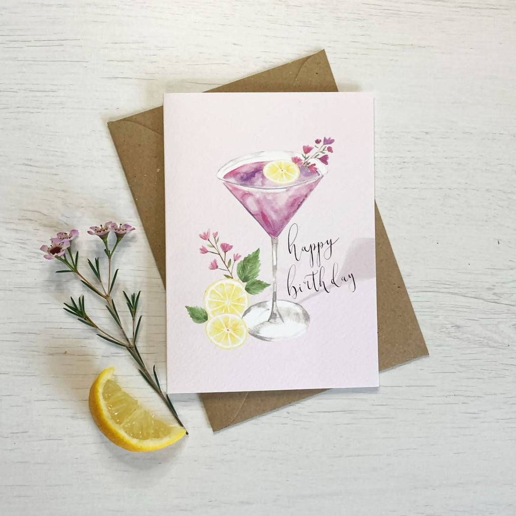 Cocktail Happy Birthday Card