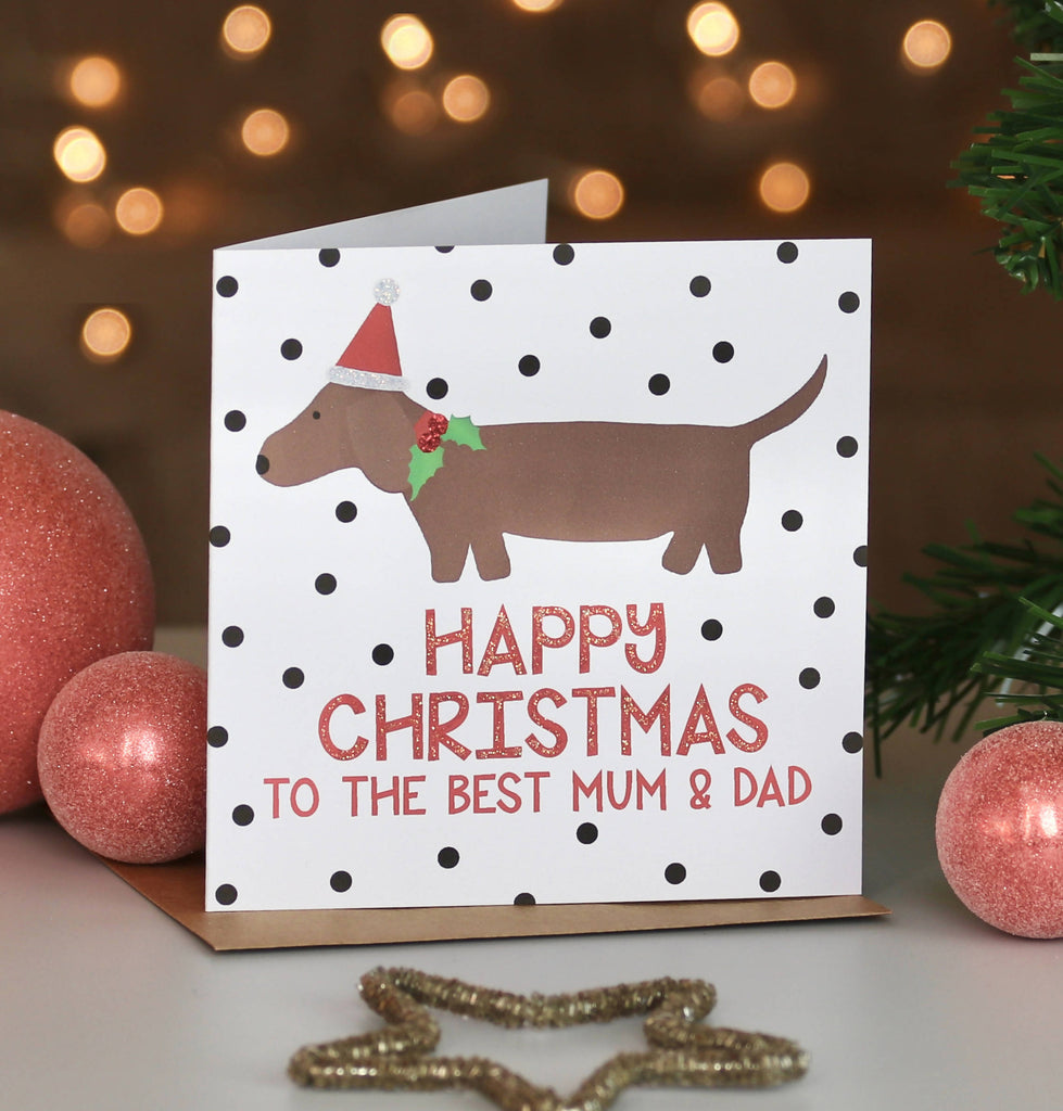 Personalised Sausage Dog Christmas Card