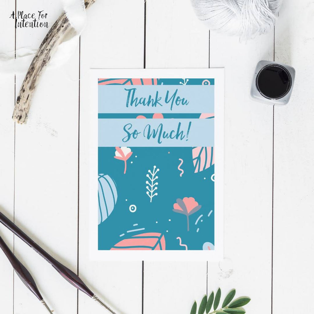 Blue Leaves & Petals Thank You Card