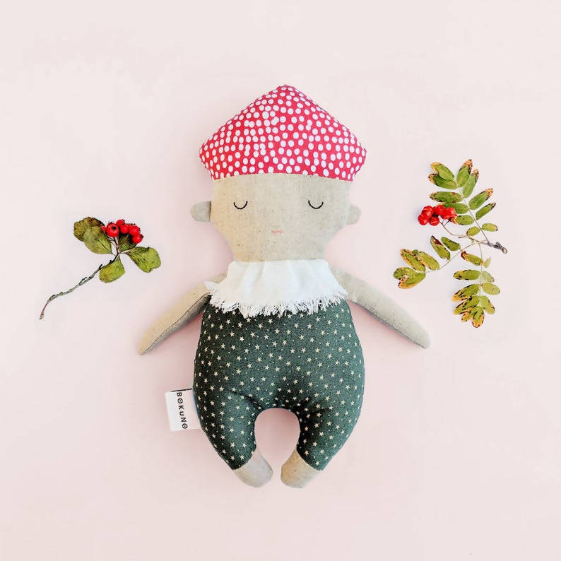 Woodland Babies |Toadstool Mushroom Doll| Mushroom Rattle | Green & Red