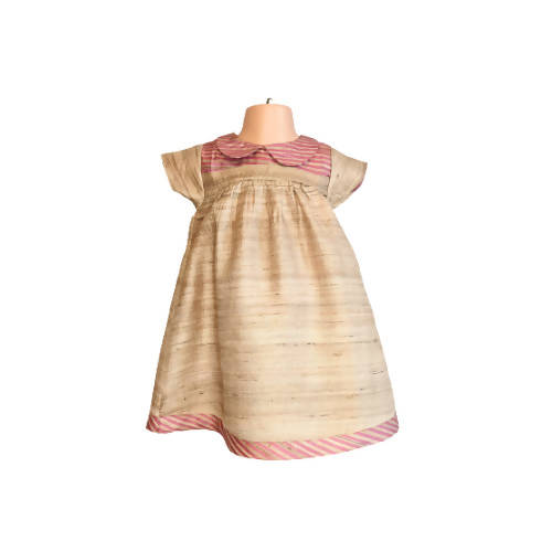 Silk Taupe Blush Baby Dress with Bloomers 12m