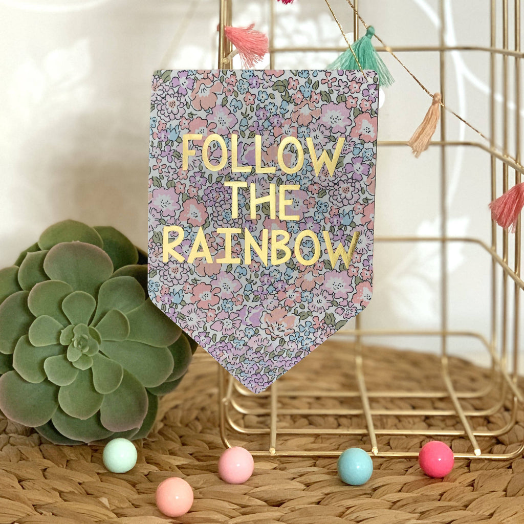 Follow The Rainbow Liberty Print Gold Metallic Banner