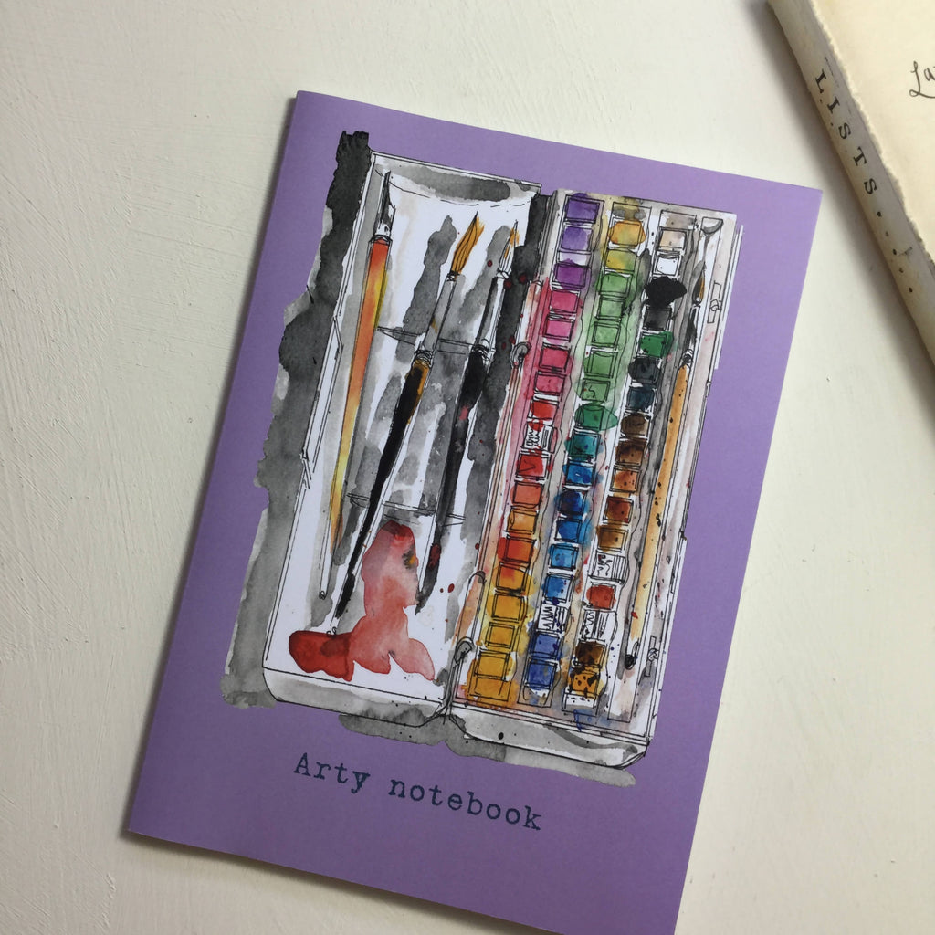 Arty Lilac Notebook - A5 Watercolour Paint Box design from an original painting