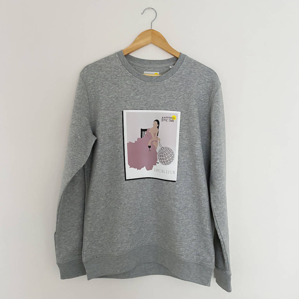 Dancing Queen Grey Marl Organic Cotton Unisex Crew Neck Sweatshirt