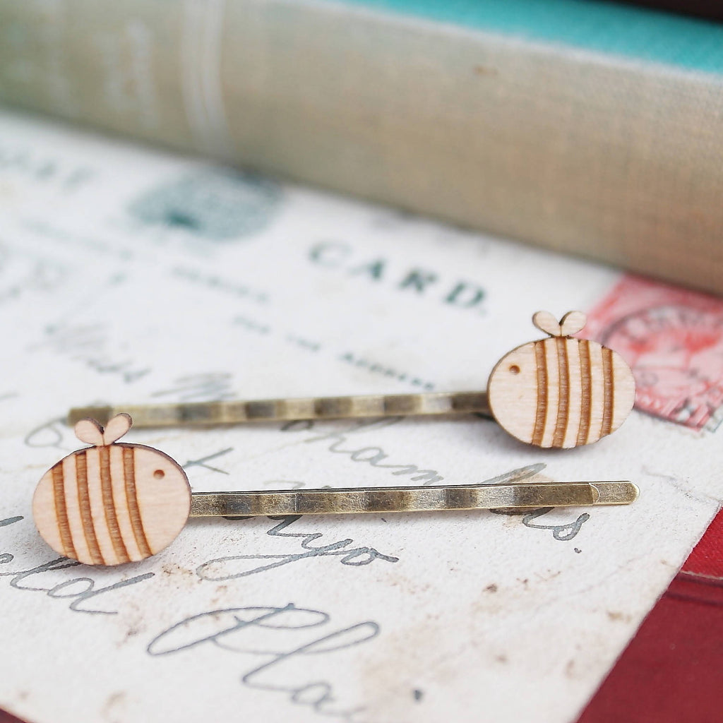 Wooden Laser Cut Bumble Bee Hair Slides-Ginger Pickle