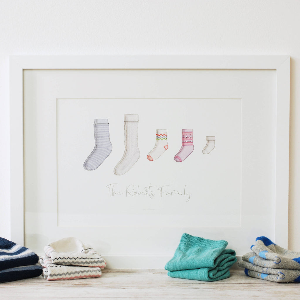Personalised sock family watercolour art print by Kerri Awosile the perfect Christmas gift with socks