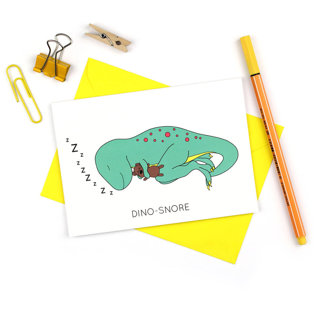 Dino-snore Dinosaur Greeting Card