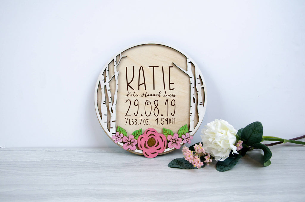 Personalised Floral Baby birth Plaque