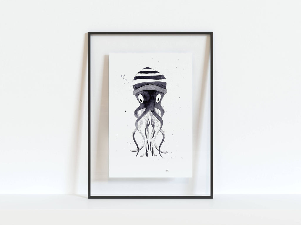 Octopus Illustrated A4, A5 Print, Illustrated Animal Print
