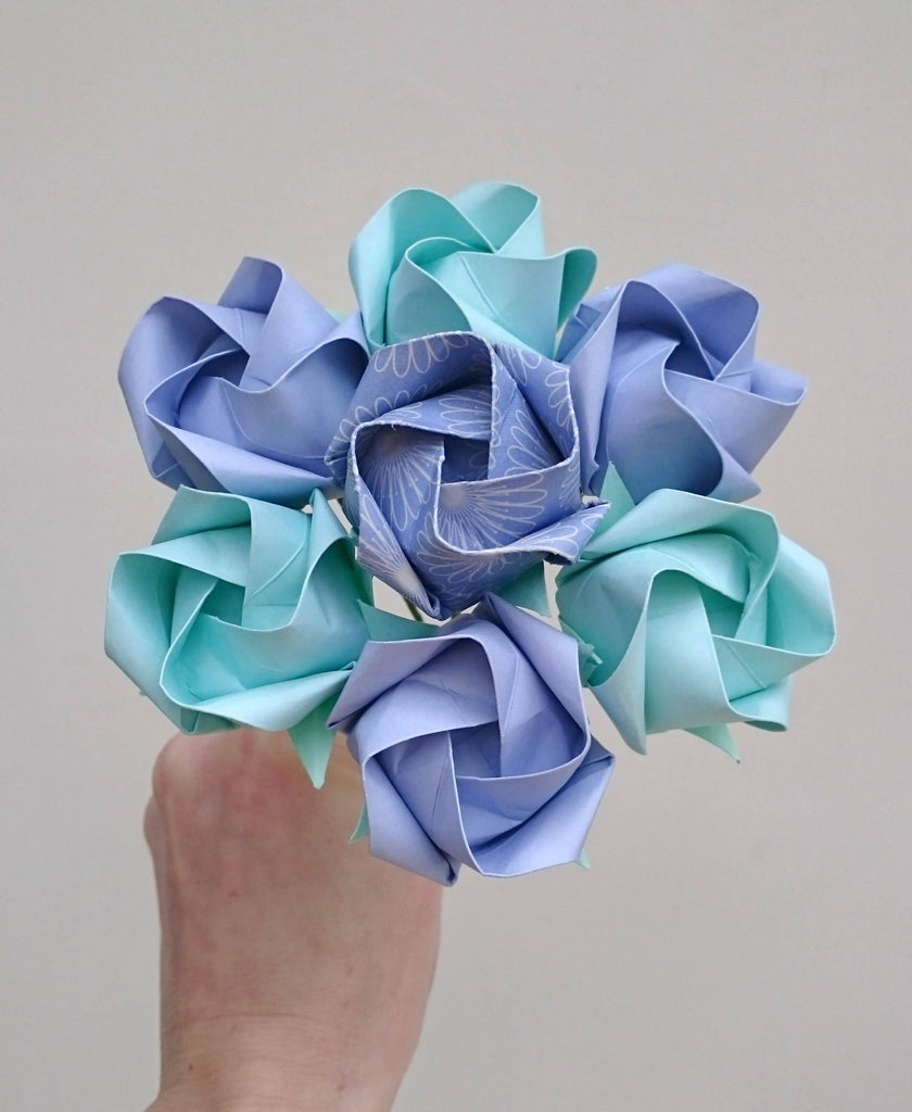 Pastel aqua and lilac origami roses bouquet