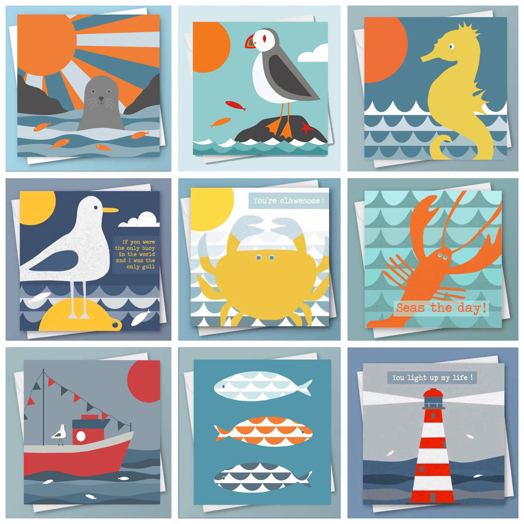 Pack of 5 Coastal Art Greetings Cards