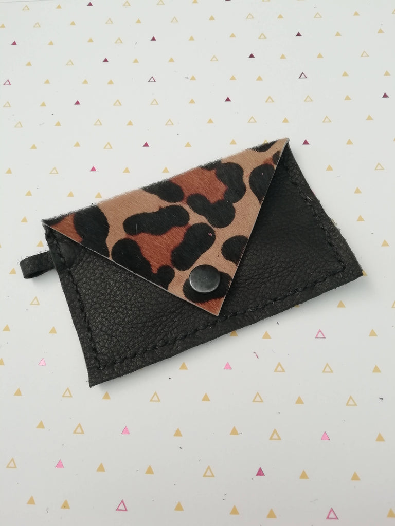 Leopard Print Card Holder Purse Keyring