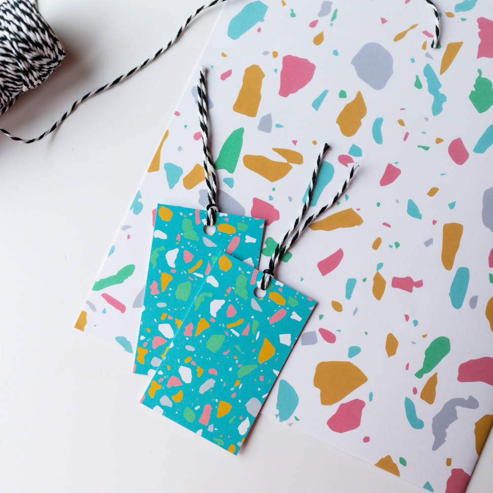 White Terrazzo Gift Wrapping Sheet A2, With Matching Tags