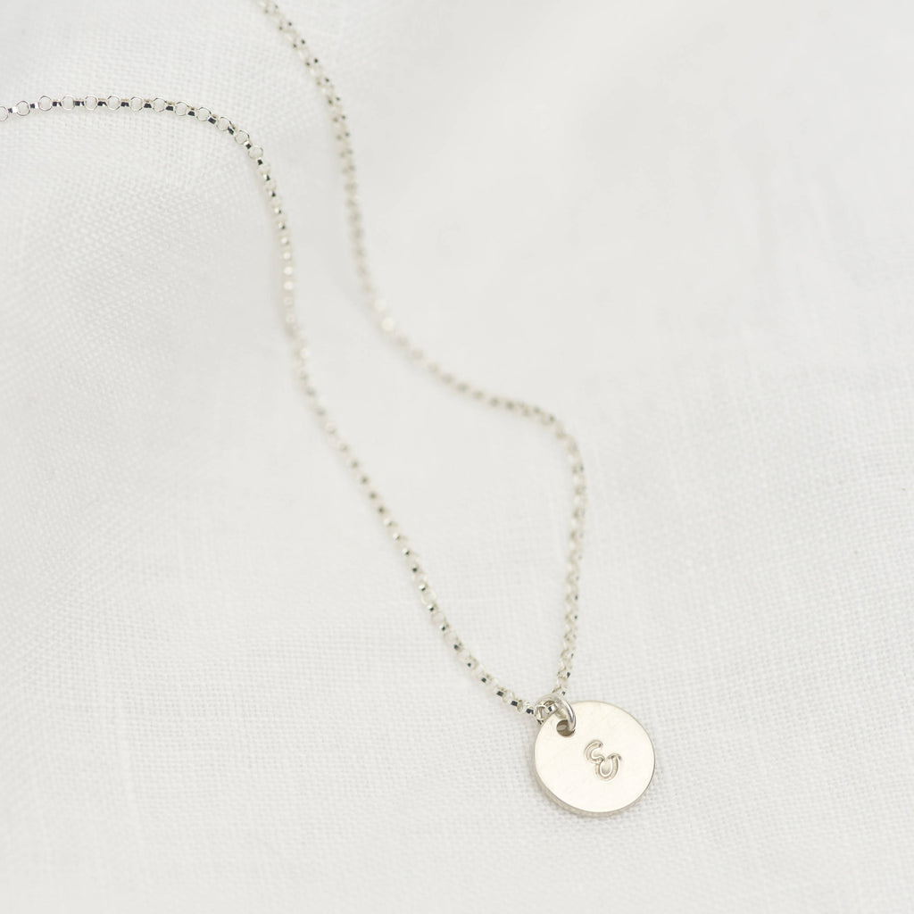 Sterling Silver Mini Disc Personalised Necklace