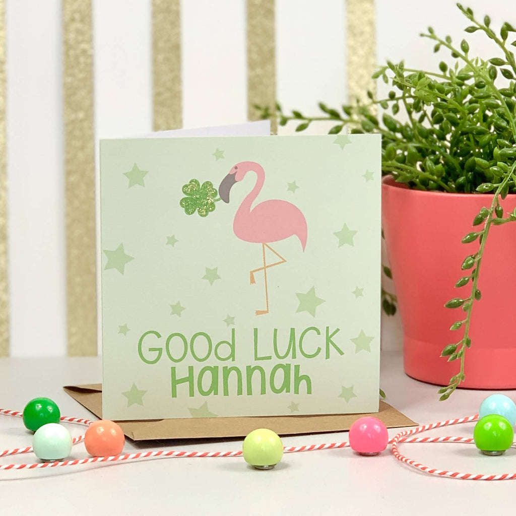 Good Luck Flamingo Card - PERSONALISE ME!
