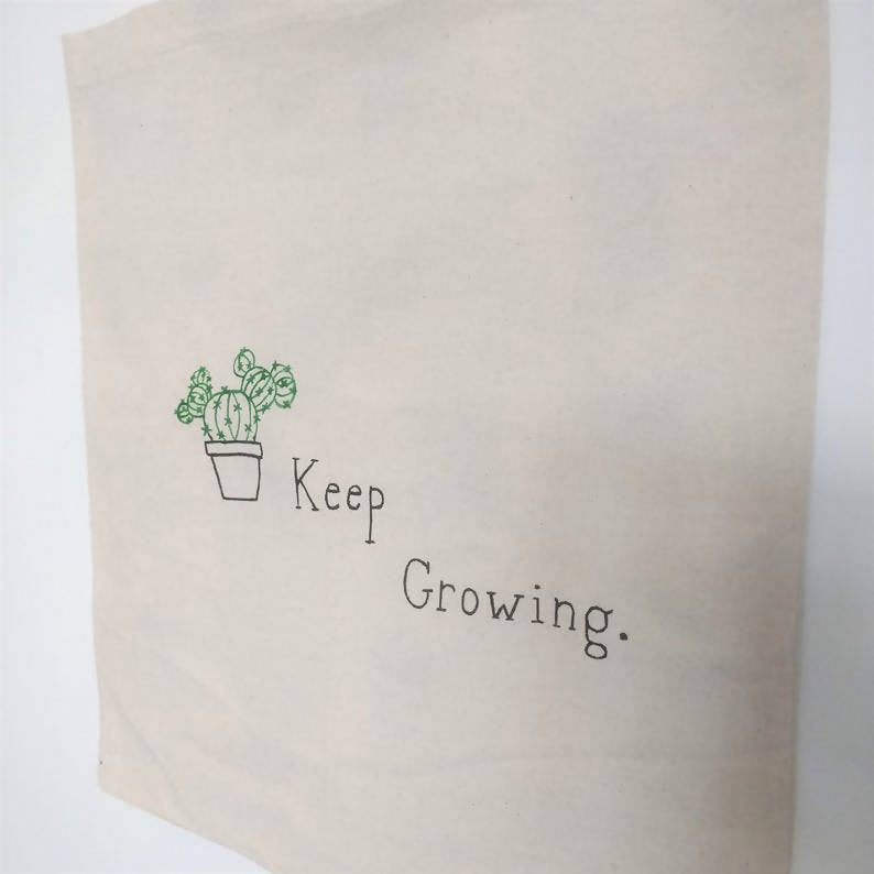 Minimalist House Plant Pattern Cactus and Succulent 'Keep Growing' Cotton Canvas Shopping Tote Bags