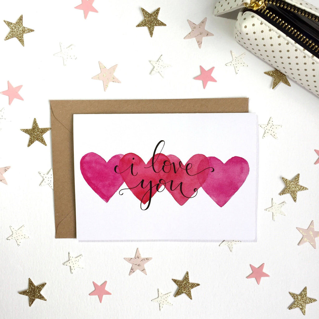 'I love you' Hand Lettered Hearts Card - 1, 5 or 10 pack