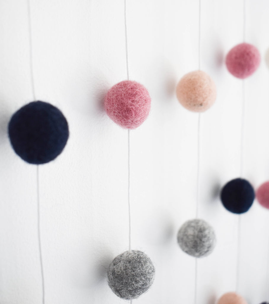 Pink and Navy Felt Ball Wall Hanging