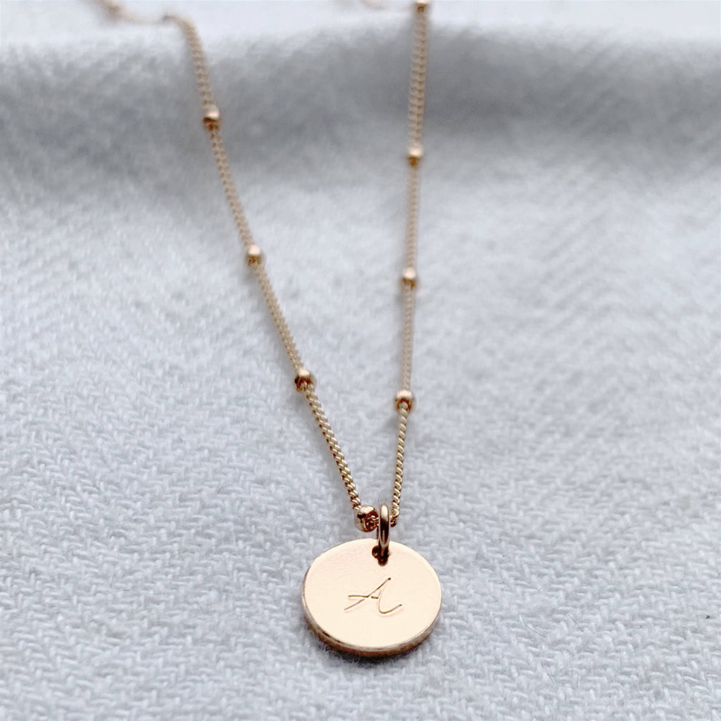 Rose Gold Mini Disc Personalised Necklace