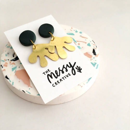 Polymer Clay and Brass Large Statement Earrings