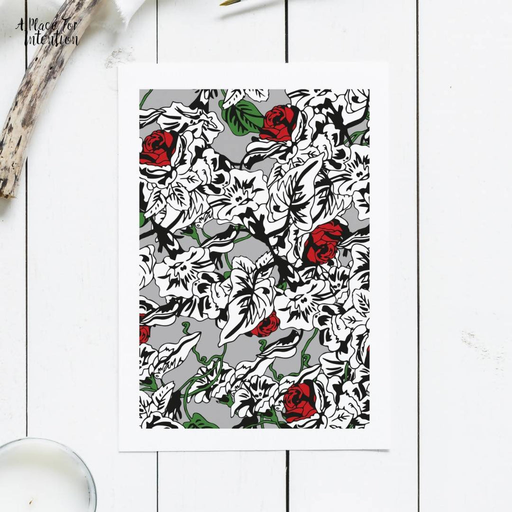 Grey Roses Illustration Card