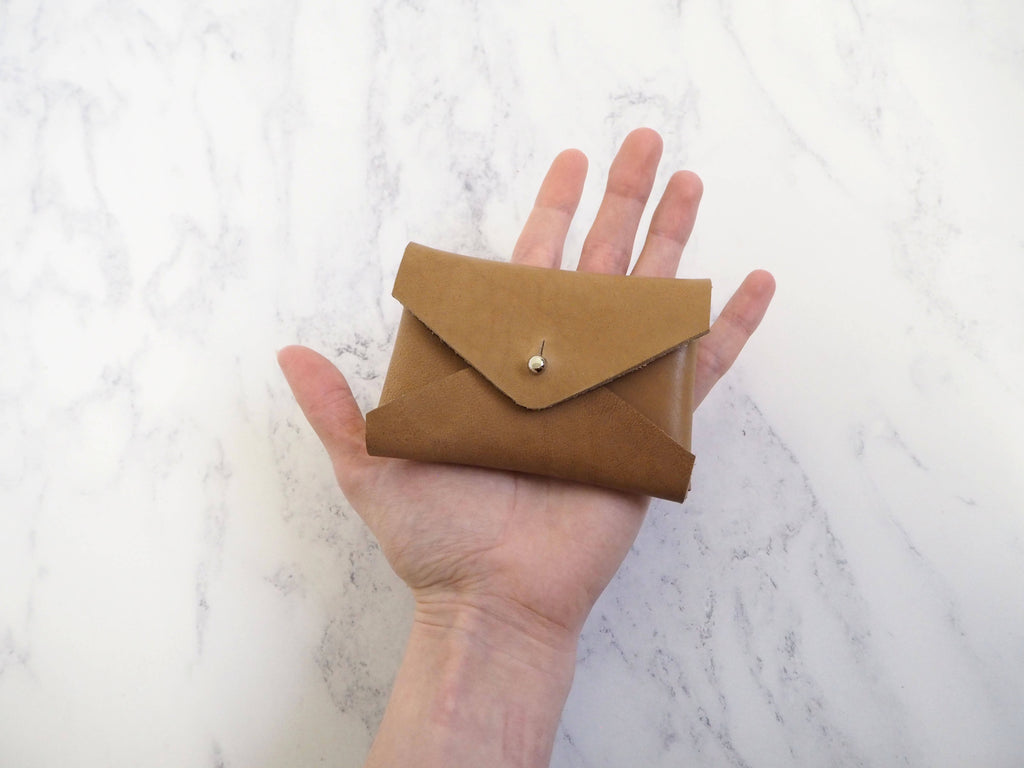 Small Leather Folded Coin Pouch - Tan Brown or Cream