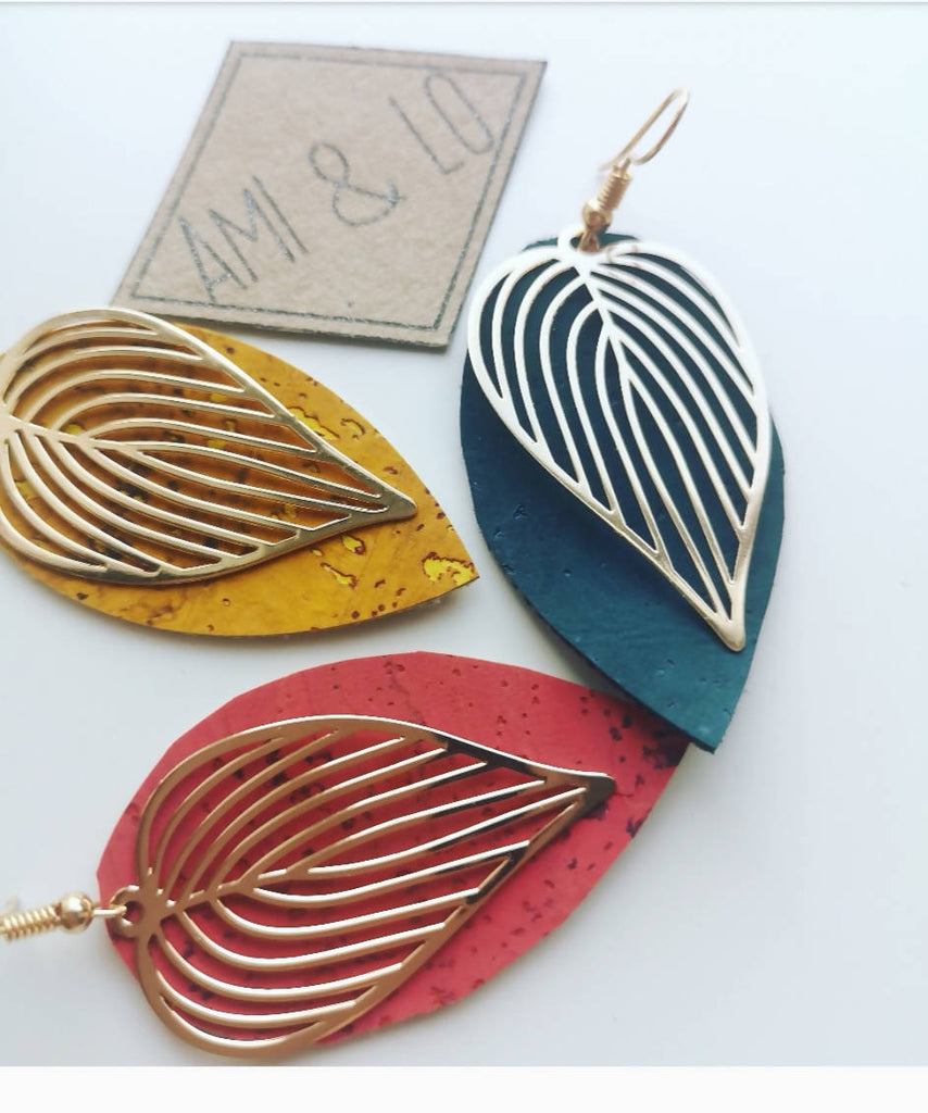 Coral, Mustard and Teal Cork leather Leaf design statement earrings, Ami and Lo, Andsotoshop