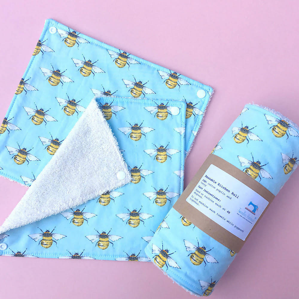 Eco Friendly Reusable Kitchen Roll in Bumble Bees Print