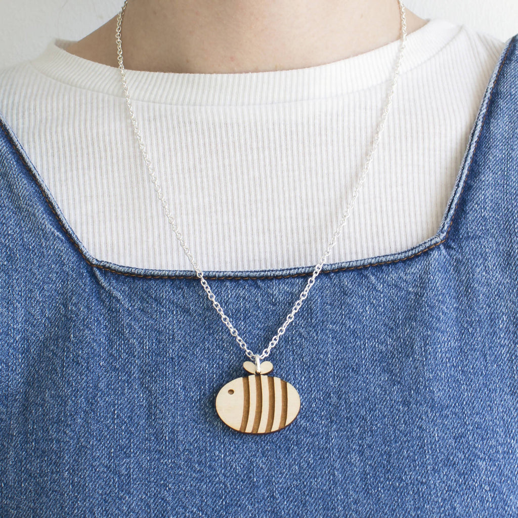 "Wooden Bumble Bee Necklace Silver Plated Medium 20"" Chain-Ginger Pickle"