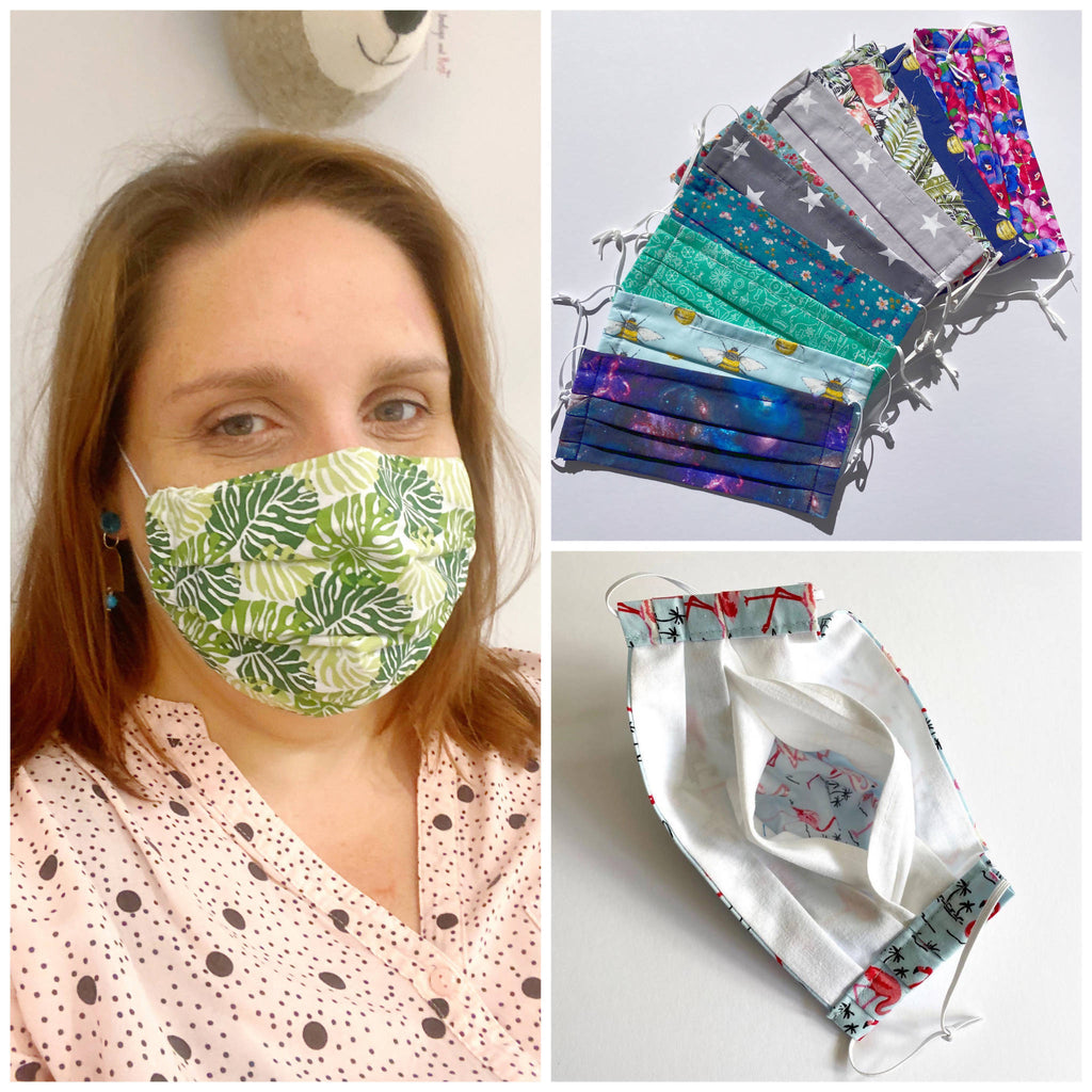 Cloth Face Mask with filter pocket, adjustable straps and nose wire - Adult Size