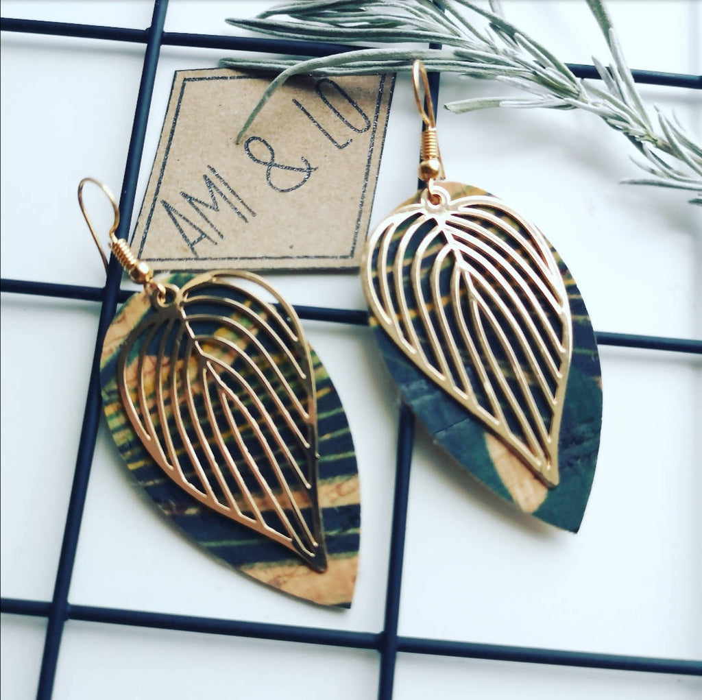 Leaf print Cork leather Leaf design statement earrings, Ami and Lo, Andsotoshop