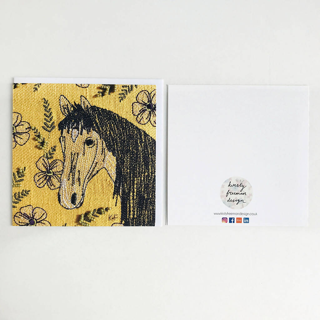 Horse Card, Animal Card, Flower Card, Blank Card, Unique Card, Greetings Card, Birthday Card, Square Card, Occasions Card, Thank You Card