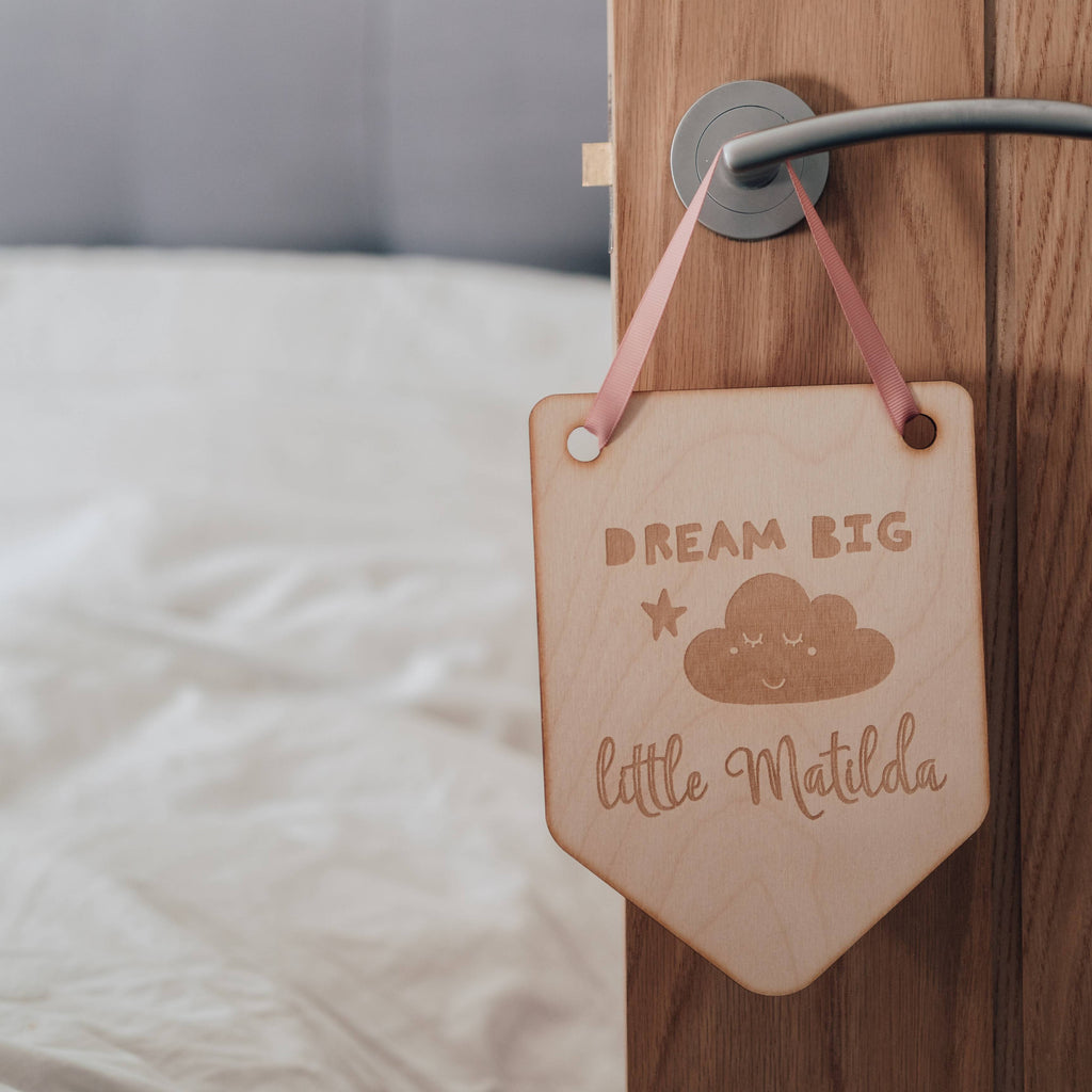 Dream Big Little One Wooden Nursery Hanging Flag Decoration