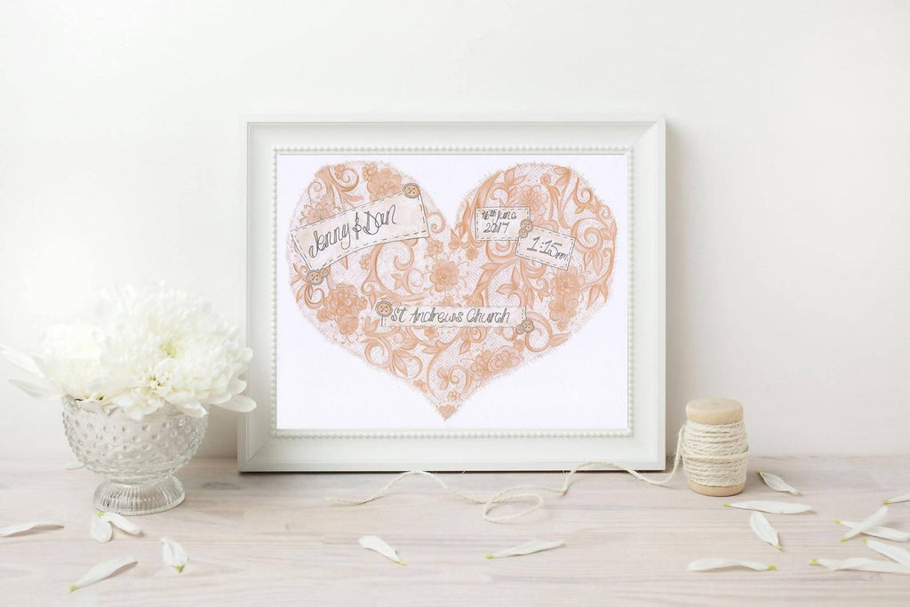 Vintage Lace Personalised Wedding Print