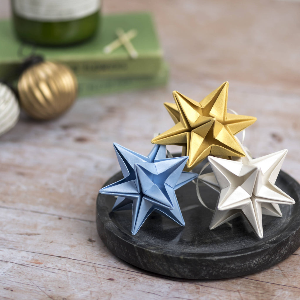 blue ivory and gold origami paper star ornaments
