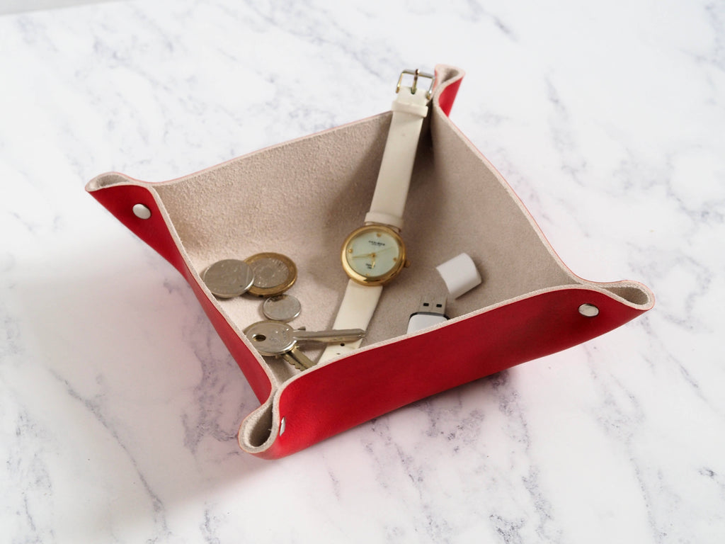 Red Leather Coin Tray