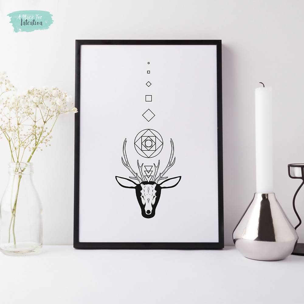 Geometric Sacred Stag Illustration Art Print