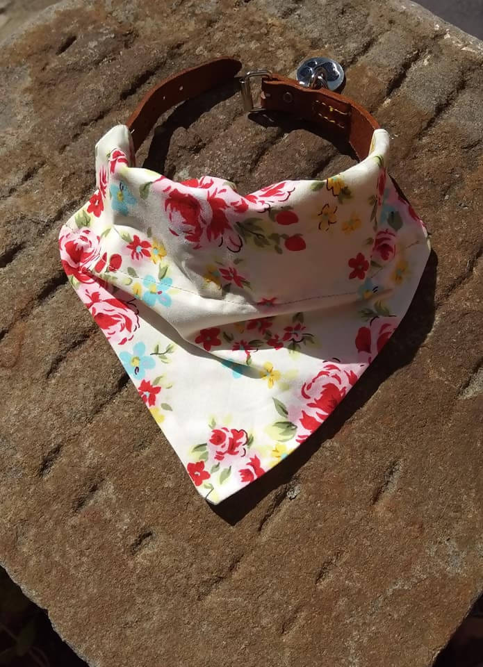 Pretty floral dog bandana, new puppy gift
