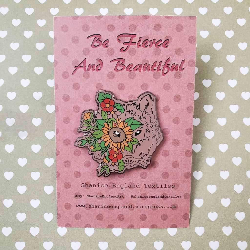 Floral Wolf Head Hard Enamel Pin, Be Fierce and Beautiful