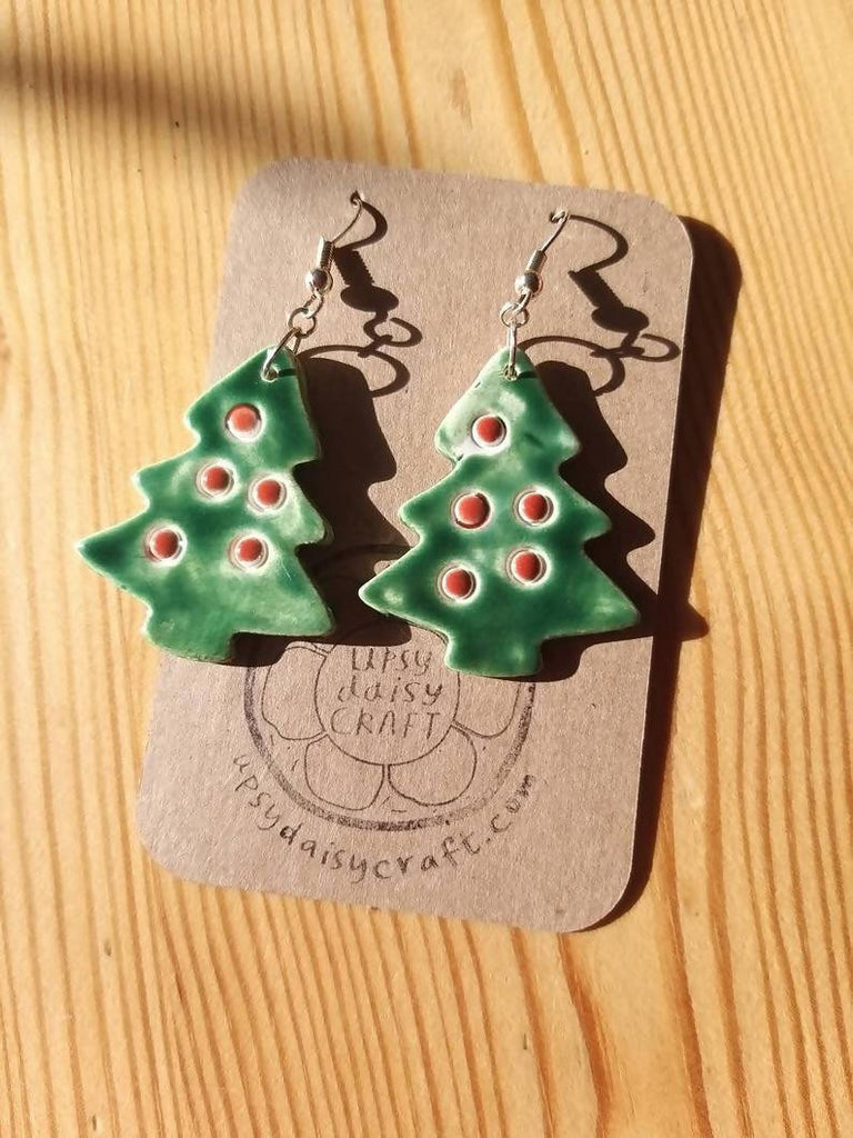Ceramic Statement Christmas Tree Earrings