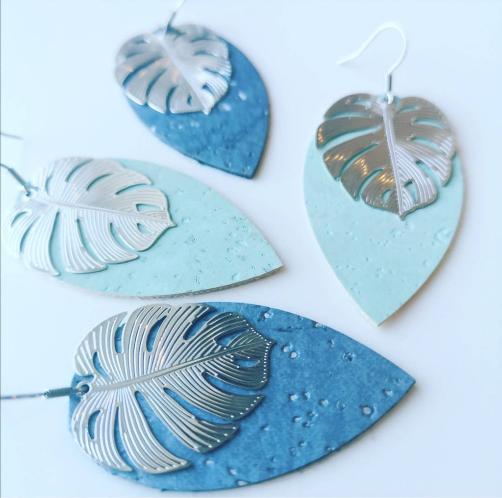 Monstera cork leather earrings (Silver colour)