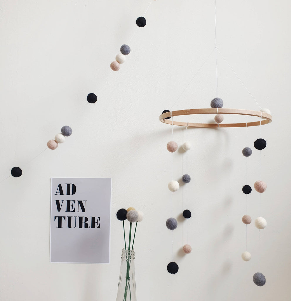 Monochrome Pom Pom Garland - Felt Ball Nursery Decor