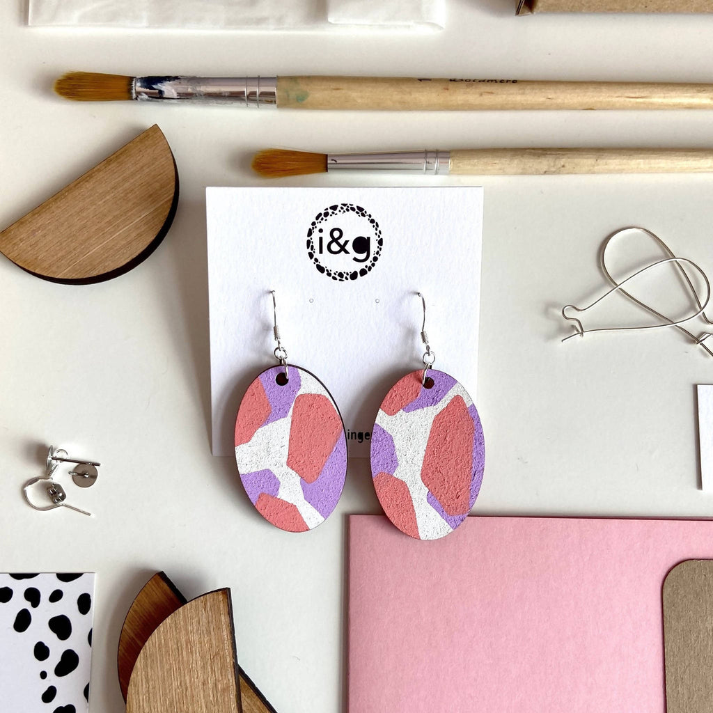 Oval Terrazzo Wooden Drop Earrings