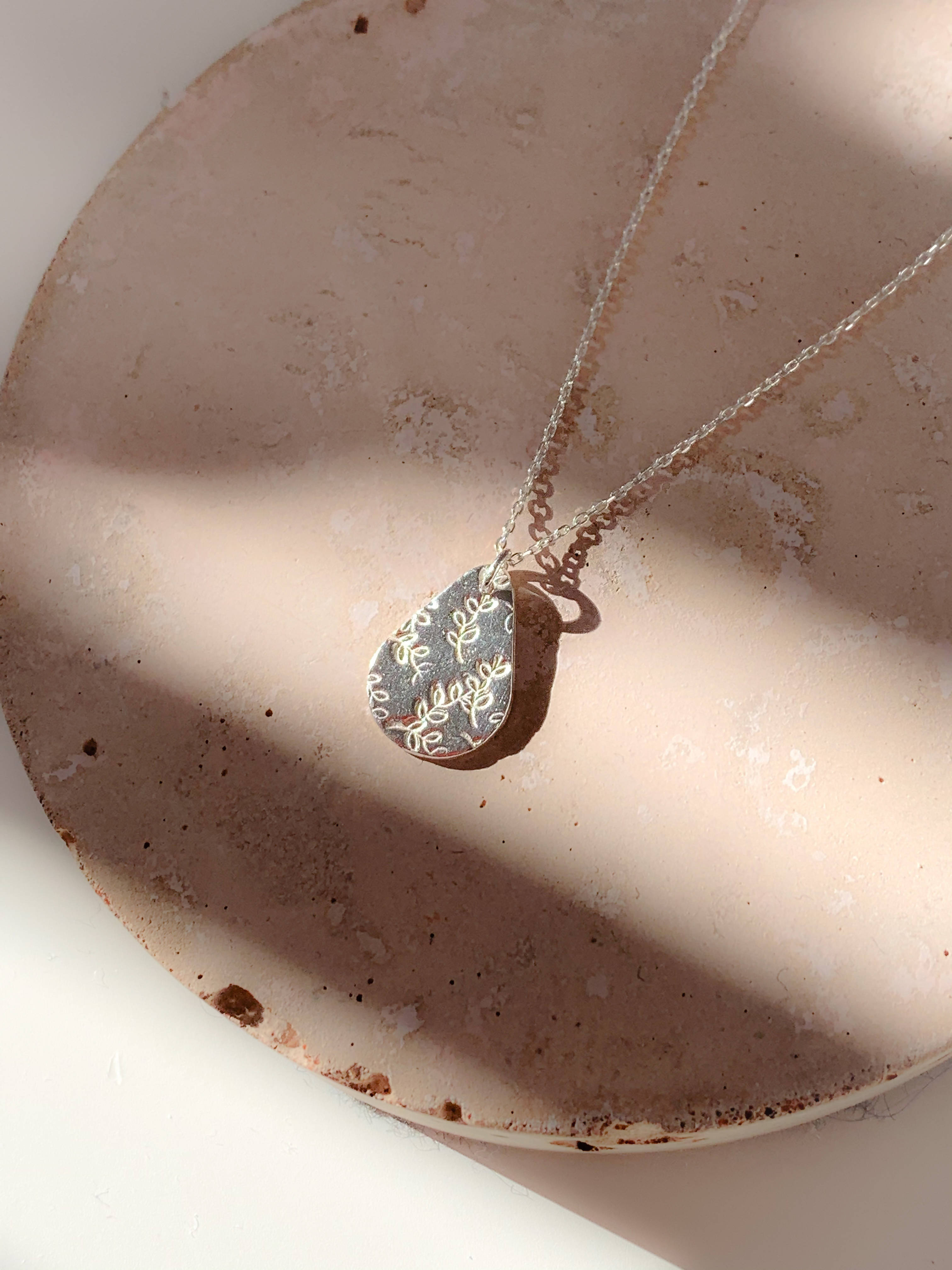 Handmade Eco Sterling Silver Botanical Teardrop Necklace