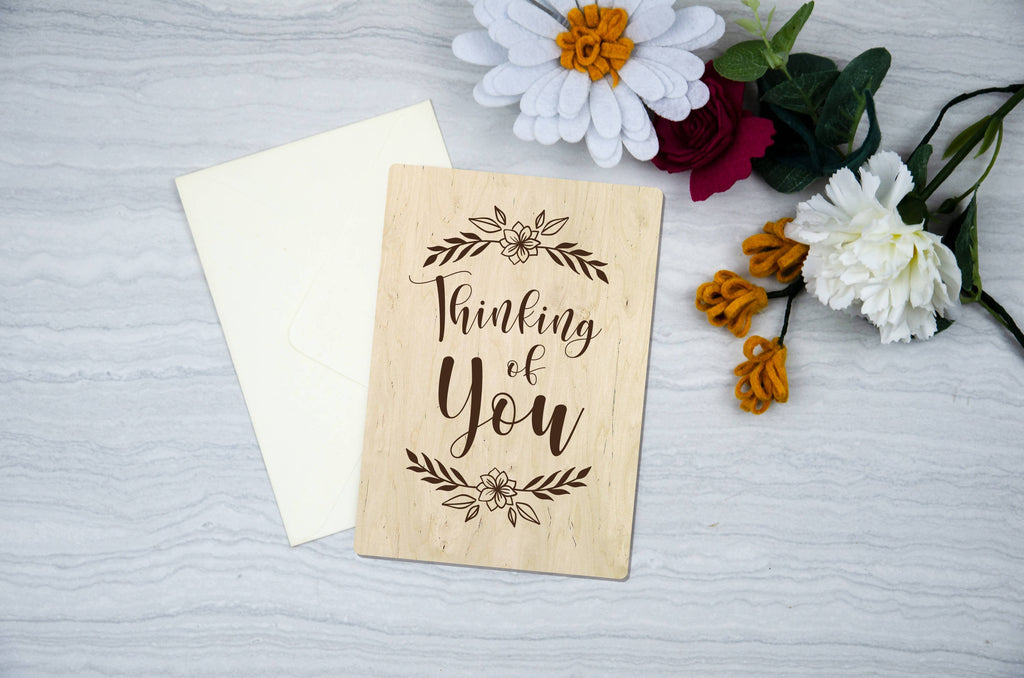 Thinking of you Wooden engraved Cards