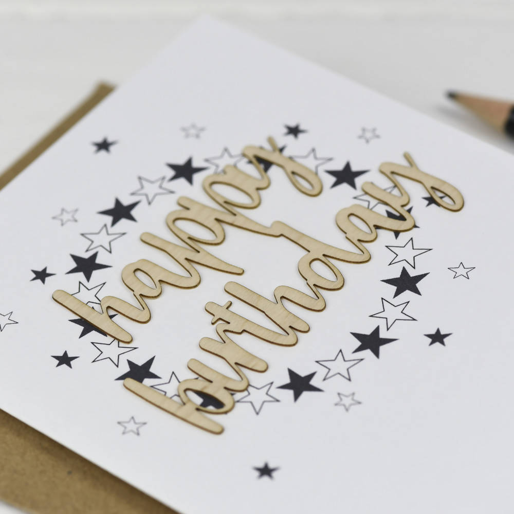 Happy Birthday Stars Wooden Words Card
