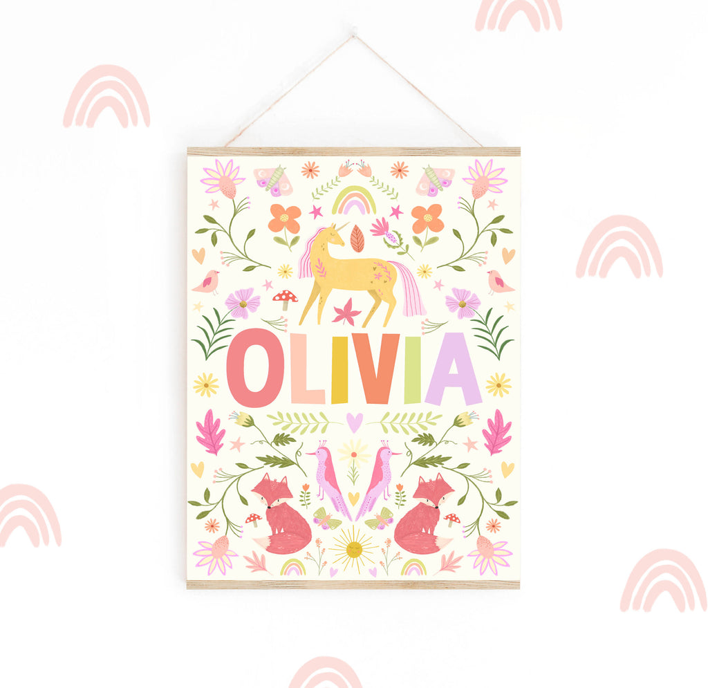 Unicorn Floral Woodland Name Print