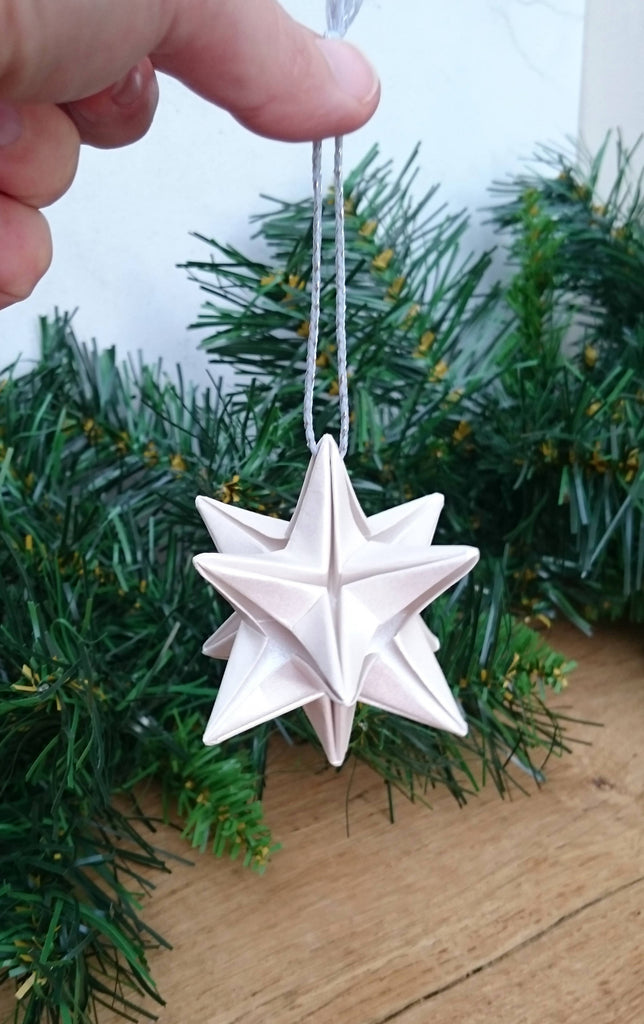 Set of 3 origami paper stars, Christmas tree decorations, origami star ornament