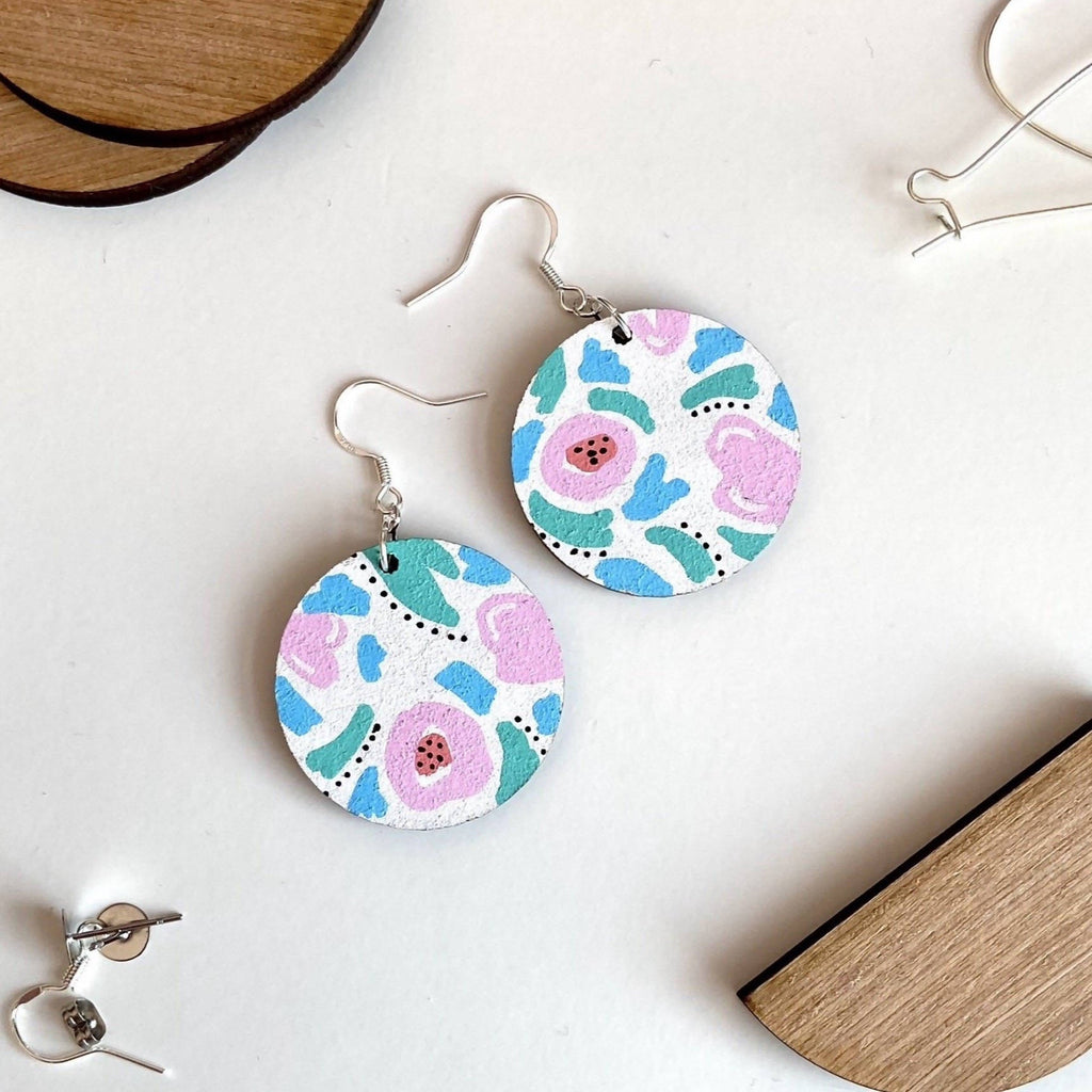 Dainty Floral Drop Circle Earrings Painted Wooden Earrings